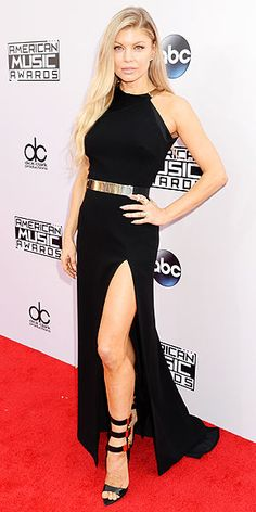 Sleek, Sophisticated & Sexy: The Boldest Looks at the American Music Awards | FERGIE | We normally expect the singer to show up in something super-Fergalicious – which means her restrained, classic and gold-accented Halston Heritage halter was almost even more shocking.