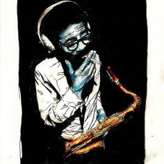 The final version of the #JoeHenderson #portrait I did that was mentioned in my previous post about the SF #Jazz brouchure. #mixedmedia on bristol with post-processing. #art #saxophone