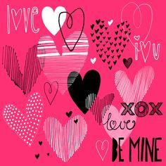 Margaret Berg Art: Hearts Collage Valentines Day Card: Pink