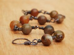 Opal bracelet rustic copper wire wrapped October by Gendrea, $32.00