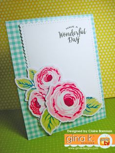 Card made with Old Country Roses stamp set, available from Gina K Designs store… Homemade Greeting Cards, Homemade Cards, Flower Stamp, Flower Cards, Birthday Cards For Women, Card Companies, Card Tags, Cool Cards, Scrapbook Cards