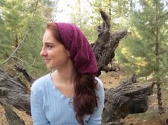 SCT2 - Burgundy Stretch lace Christian Headcovering Headband Headscarf with Ties on Etsy, $22.00