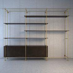 Amuneal - Collector's Shelving System Brass Shelving, Shelving Design, Bookshelf Design, Shelving Systems, Boutique Interior, Cafe Interior, Steel Furniture, Custom Furniture, Glass Bookshelves