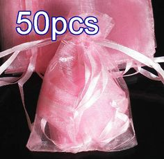 50pcs Baby Pink Drawstring Organza Gift Bag Pouch 7x9cm (2.7x3.5inch) Solid Color for Wedding Xmas New Year Birthday Party by AnneJewelryAcc, $4.85