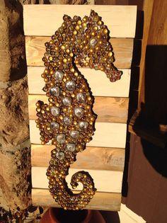 Seahorse on spool wood