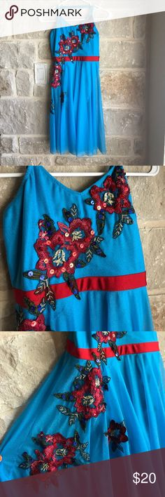Blue Floral Leotard Costume 🎃 SALE sheer blue material, flowers with sequins, leotard. Cross cross spaghetti straps. size S/M Other