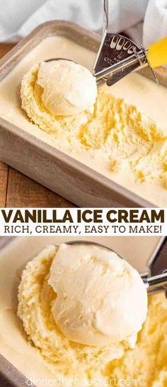 ice cream machine recipes Vanilla Ice Cream made from cream, sugar, and vanilla extract is indulgently sweet, creamy, and the PERFECT classic dessert. Easy Homemade Ice Cream, Diy Ice Cream, No Churn Ice Cream, Keto Ice Cream, Healthy Ice Cream, Vanilla Ice Cream, Ice Cream Recipes, Recipe For Ice Cream, Homemade Vanilla Icecream