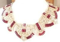MOST AMAZING ART DECO STYLE RUBY RED RESIN & RHINESTONE STATEMENT NECKLACE