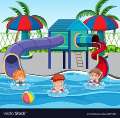 Children at the water park vector image on VectorStock Art Drawings For Kids, Drawing For Kids, Art For Kids, Farm Coloring Pages, My School Life, Certificate Background, Graphic Design Lessons, Lion Painting, School Murals