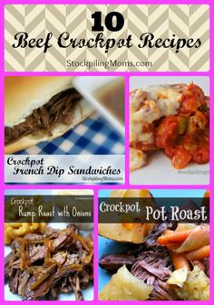10 of our favorite Beef Crockpot Recipes! A must pin!