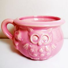 Good Night and Sleep Tight - Owl -  Pink - Planter - Bowl - Cup - Haeger Pottery