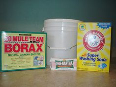 ~Homemade Laundry Detergent~ Renee` gave me this recipe but here is a blog that shows how to make it. The bloggers who have made it swear their clothes come out cleaner than with store bought dtgt.  A bucket to mix all your ingredients in.   1/3 bar of Fels Naptha Laundry Soap (you can also use Zote, Octagon, or Ivory--amounts may vary)  1/2 cup Borax  1/2 cup Arm & Hammer Super Washing Soda