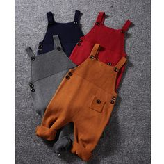 1-5Y New Autumn Unisex Baby Pocket Knitted Rompers Overalls Jumpsuits Boys Girls Candy Color Bib Harem Pants Kids Clothes