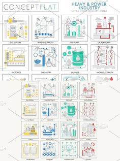 Heavy & power industry concept icons. Infographic Elements