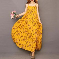 Find casual loose cotton linen clothes, shop high quality plus size pants, loose long linen maxi dresses, fashion loose sweaters, jumpsuits from buykud.com. Long Sleeve Floral Dress, Short Sleeve Dresses, Suspender Dress, Linen Dresses, Maxi Dresses, Floral Print Skirt, Pinafore Dress, Pullover, Dress First