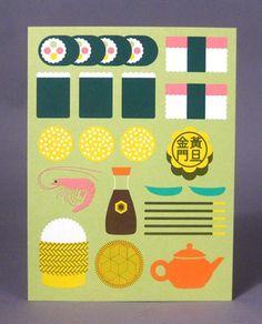 日本食をかわいいイラストレーションで表現「itadakimasu」