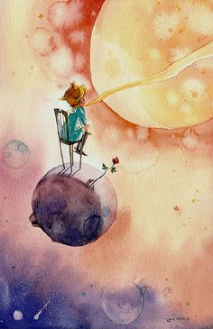 The Little Prince looks to the universe atop his little planet.