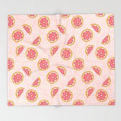 Grapefruit Pattern Throw Blanket by sealemonshop - click to get yours! #ThrowBlanket #drawing #digital #pattern #pink #grapefruit Girly Bedroom Decor, Pink Grapefruit, Digital Pattern, Print Design, Blanket, Drawing, Crafts, Manualidades, Sketch