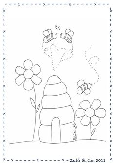 bees and beehive  embroidery pattern