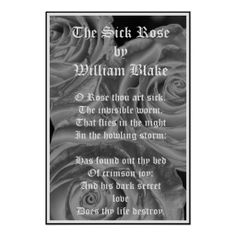 """""""The Sick Rose"""", a very short, sad poem by William Blake, is an excellent example of Gothic literature.   """"Gothic Roses"""" Poster, by Zazzle.com/DevelopingFocus, $18.40"""