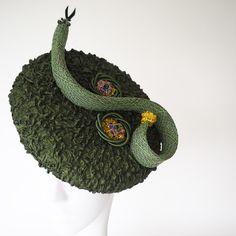 57c40494d7c Serpentine - Olive Green Avante Garde headpiece Milliner Art. Designer HatsGreen  ...
