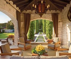 Lance Armstrong's Spanish colonial style house in Austin, Texas. The pool cabana looks down a walk framed by cypresses. Spanish Colonial Homes, Colonial Style Homes, Spanish House, Spanish Style, Outdoor Living Rooms, Outdoor Spaces, Outdoor Seating, Living Spaces, Backyard Seating