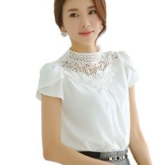 Elegant White Summer Tops Women Chiffon Lace Blouse Vintage Lotus Leaf Sleeve Crochet Lace Shirt Women Lace Tops Plus Size XXL
