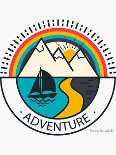 'Adventure Logo' Sticker by Logo Camp, Logo Voyage, Kreis Logo, Hiking Logo, Sea Logo, Summer Logo, Outdoor Logos, Resort Logo, Vintage Logo