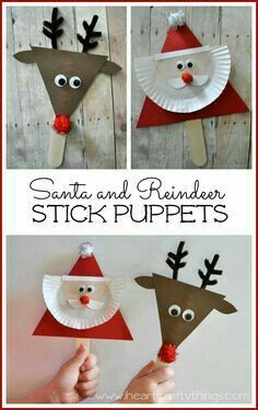 DIY Santa and Reindeer stick puppet craft! Kids will love making these cute little Christmas puppets and can use them to retell their favorite Christmas stories. Preschool Christmas, Christmas Activities, Christmas Crafts For Kids, A Christmas Story, Christmas Projects, Holiday Crafts, Christmas Gifts, Christmas Decorations, Christmas Ornaments