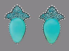 JAR Paris. A PAIR OF BLUE OPAL, MULTI-COLORED ZIRCON AND DIAMOND EAR PENDANTS, BY JAR. Each set with a pear-shaped cabochon blue opal, to the stylized fleur de lys surmount set with green and blue circular-cut zircons, within a single-cut diamond border, 2 1/8 ins., mounted in 18k gold and silver. Signed JAR. Price Realised USD 223,500 / Estimate USD 150,000 - USD 200,000 [C. Magnificent Jewels - 7 December 2016 - New York, Rockefeller Plaza] #JAR #JARParis #JoelArthurRosenthal