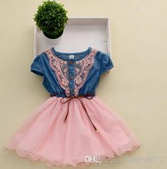 Princesa Dress Ropa Nueva Niños Denim Tutu vestidos de encaje de la muchacha dulce vestido de manga corta del bebé de Kid crochet vestidos florales SX1