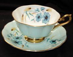 ROYAL ALBERT PASTEL GREEN BLUE CORNFLOWER AVON TEA CUP AND SAUCER