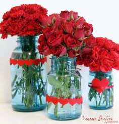 Red Flowers with Aqua Vases