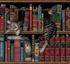 Frederick Literate bookshelf cat cross stitch
