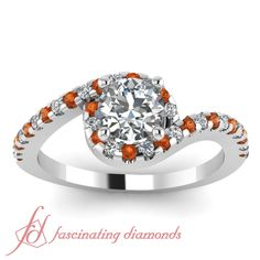 Twisted Halo Ring|| Round Cut Diamond Halo Ring With Orange Sapphire In 14K White Gold
