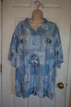 Men's 100% Silk Casual Shirt By Tulliano Size XXL Martini Glass Hawaiian 2X #Tulliano #ButtonFront