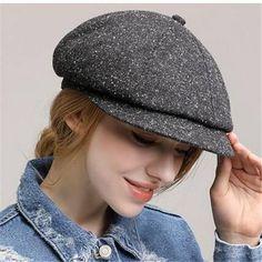65e606ea12740 Plain gray baker boy hat for women casual outdoor wool newsboy caps