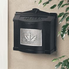 Black Wall Mount Mailbox With Satin Nickel Leaf Emblem Porch Front Keystone