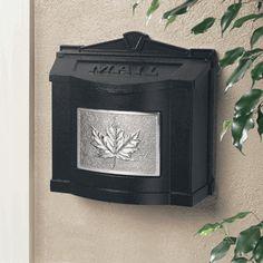 Black Wall Mount Mailbox with Satin Nickel Leaf Emblem