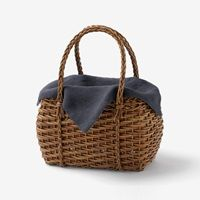 Woven chocolate vine basket with linen cover from Nakagawa Masashichi Shoten あけびづるのミニ籠バッグ 天日干しリネン