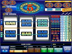 5 X Play Slots - The jackpot for this 3 reel, 3 payline reel slots game increases dramatically when players bet all three coins. Each coin buys a new line, one coin per line. Three 5X Play logos pay 2,000 when betting a single coin, 5,000 when betting two coins and 15,000 when betting all three.