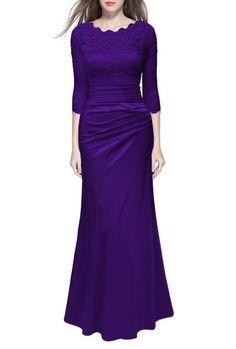Vintage Elegant Lace Slim Wedding Long Dress