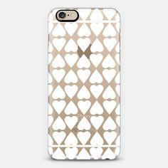 Diamond Hearts White Transparent  - Classic Snap Case