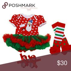 Still Time to Get it for Xmas! Order this weekend! Cute Christmas Outfit for Baby Girl.  Includes Onesie with Tulle Tutu, Leggings, Shoes, and Headband.  Perfect for pictures with Santa or the Family Holiday Portrait.  Limited Quantities. Matching Sets