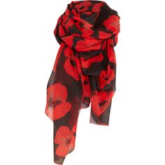 Yves Saint Laurent Poppy-print cotton and silk-blend scarf ❤ liked on Polyvore