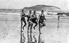 Women's team, Coffs Harbour Jetty Surf Life Saving Club. Coffs Harbour, the first fully equipped women's surf life saving competition team in the world, 1931 / photographed by Sam Hood. More information at http://acms.sl.nsw.gov.au/item/itemDetailPaged.aspx?itemID=389849. Search our catalogue at http://www.sl.nsw.gov.au/