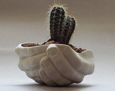 Modern Ceramic Hands Dish White Serving Bowl by SCULPTUREinDESIGN