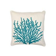 Coral, Fish Head and Crab Crewel Pillows - Wind and Weather found on Polyvore