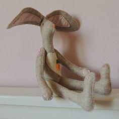 Big Eared Felt Rabbit medium by MyArtandSoulUK on Etsy, £15.00