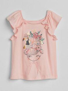 Gap Baby Metallic Graphic Flutter T-Shirt Pink Girl - Strabe Stil Sommer 2019 Girls Tees, Shirts For Girls, Girls Blouse, Kids Wear, Pink Girl, Baby Dress, Toddler Girl, Kids Outfits, Kids Fashion